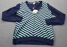 BOBBY JONES CLOVER GOLF Women Blue Striped Cashmere Cotton V-Neck Sweater NWT  M
