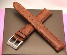 New Gucci 17 MM Padded Brown Genuine Crocodile Leather Watch Band(17.132)