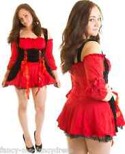 Ladies Sexy Red Vixen Pirate Wench & Hat Halloween Fancy Dress Costume Outfit