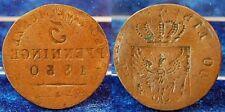 Prusia 3 peniques falla acuñación 1830 a antes y el reverso incus