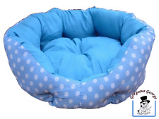 WOW! SPLENDIDO DESIGN BLU & BIANCO SPOTTY GATTO GATTINI LETTINO PER CANI CESTA