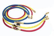 """3 Color AC Charging Hoses 60"""" HVAC 1/4""""  w/Shut Valve AC Refrigerant R410a R134a"""