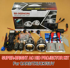 "3"" Car BI-Xenon Universal HID Projector Lens Kit ANGEL DEVIL EYE H1 H4 H7 35W AC"