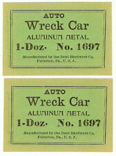 2 Lot DENT HARDWARE Auto Wreck Car Aluminum # 1697 1 Doz VINTAGE Paper Box Label