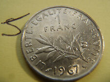 1 franc Semeuse 1967 24mm, 6 gr, nickel