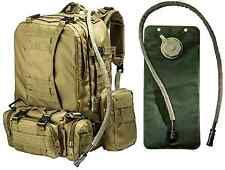Big Monkey Tactical Military Backpack with 3 Molle Bonus Bags - 2.5L Hydration W