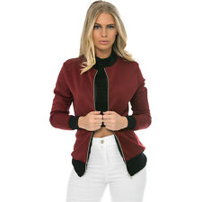 Womens Casual Classic Padded MA1 Bomber Jacket Ladies Vintage Zip Up Biker Coat