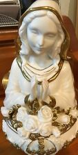 Porcelain Vintage Virgin Mary Franklin Mint Music Box, 24k, Plays Ave Maria
