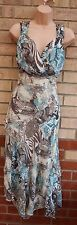 G21 BROWN CREAM BLUE SNAKE SKIN LEOPARD ABSTRACT FLIPPY A LINE SKATER DRESS 14 L