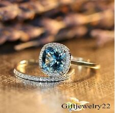1.86 Ct Cushion Aquamarine Bridal Diamond Engagement Ring Set In 14k White Gold