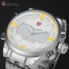 SHARK Sport Quartz Army Stainless Steel LED Date Day Mens Watch White Yellow