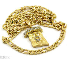 Jesus Piece Charm Micro Mini Pendant Figaro Chain Necklace Iced Out Gold Plated
