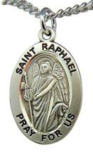 """St Raphael Sterling Silver 7/8"""" Saint Medal w/ 20"""" Steel Chain Made in the USA"""