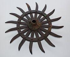 """John Deere 18"""" Steel Spike Wheel wHub Rotary Hoe Industrial Steampunk Garden Art"""