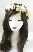 Ivory Peach Rose Flower Garland Hair Crown Vintage Headband White Headdress U71