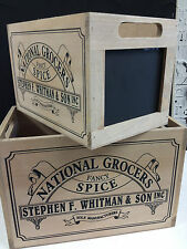 Grocery Blackboard Timber Storage Boxes Set of 2 Whitman & Son Canisters