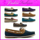 NEW LADIES FLAT TWIN EYELET LACE UP SLIP ON DECK BOAT SHOES SIZES UK 3-8