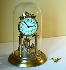 Vintage German Anniversary Clock Glass Dome 400 day excellent running condition