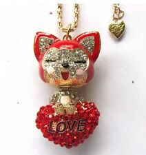 Cute NWT Betsey Johnson Necklace Gold Red Heart Love Kitty