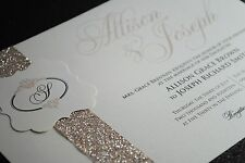 25 Golden Champagne Wedding Invitations with Beautiful Glitter Band and Monogram