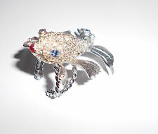 """CRAZY COOL LARGE RHINESTONE FISH RING W/FLOWING TALES FRENCH """"MAISON DE FOU"""""""