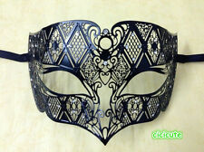 Male Diamond Design Black Laser Cut Venetian Masquerade Metal Filigree Mask Men