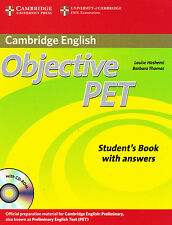 CAMBRIDGE ENGLISH Objective PET Student Book w Answers & CD-ROM 2010 Edition NEW
