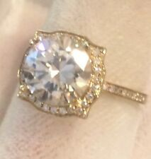 G-H VVS2 2.43CTW Moissanite Ring &Natural Diamond Accents Yellow Gold