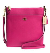 COACH North South Embossed Textured Leather Swingpack Cross body Bag Purse Pink