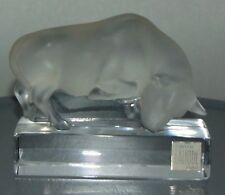 LALIQUE France BULL Sculpture FROSTED ART GLASS Marked PAPERWEIGHT