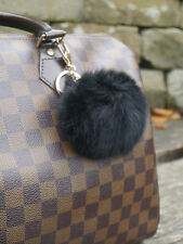 Black Real Rabbit Fur Ball Pompom Keyring Bag Charm Accessory - UK seller!