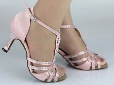 Pink Satin Diamante Ballroom Latin SALSA Line Dance Shoes 4,4.5,5,5.5,6,6.5,7,