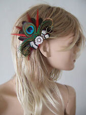 """Bridal Prom Red Burgundy Peacock Feathers Fascinator Hair Clip """"Tabitha"""" FGR3010"""