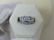 14 KT 14 K WHITE GOLD ENGAGEMENT RING AND WEDDING BAND 2 CT TCW