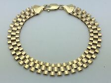 """Brand New Solid 10K Yellow Gold 9"""" Watch Link Chain Bracelet 16 grams 10.25 mm"""