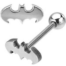 1 BATMAN 3D LOOK LOGO 316L STAINLESS STEEL BARBELL TONGUE RING 14G 5/8""