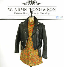 Women's Black GENUINE LEATHER Belted PERFECTO Cropped Biker Moto 70s Jacket UK M