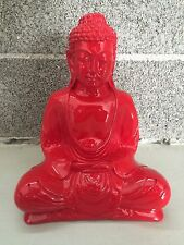 Red Sitting Buddha Mid Century Modern Resin Statue