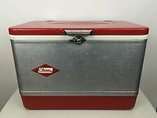Vintage Coleman Red Silver Metal Cooler Ice Chest DIAMOND LOGO  21 X 15.5 X 13