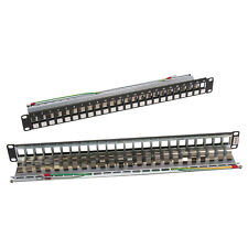 Arrowmounts Cat.6A 24Port Snap in Patch panel for STP RJ45 Keystone Jack