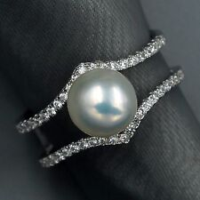 New White Pearl 925 Sterling Silver CZ Cultured Freshwater Adjustable Ring 07680