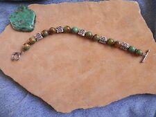 """Green Turquoise & Sterling Silver Bali spacer beads Bracelet 7 1/4"""""""