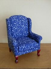 Dollshouse miniature ~ BLUE SWIRL ~ Wing Back Chair