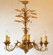 Lustre Ananas En Fer Et Bois Doré, 6 Lumières, Vers 1960-70