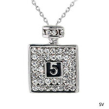Chic Lucky Number Perfume Fragrance Bottle Crystal Rhinestone Necklace Pendant