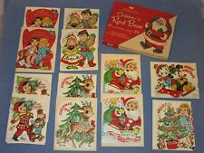 Vtg 50's Xmas Norcross Kids Red Box Cards 12 Unused TREE ORNAMENT CARD HANGERS