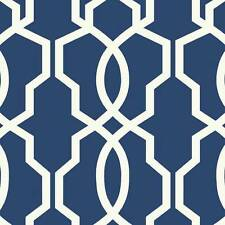 Wallpaper Designer Geometric Hourglass White Trellis on Blue