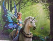 Realm of Enchantment Plaque Fairy on Unicorn/ Fantasy Canvas Picture/Mystic/