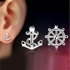 New Fashion Wheel and Anchor 925 Silver Plated Stud Earring Sailor Sea Traveller