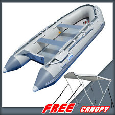 1.2mm PVC 14.1ft Inflatable Boat Rescue Raft Power Boat Free Bimini BSA430AGG12